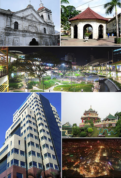 (From top, left to right) : Basilica Minore del Santo Ni?o, Magellan's Cross, Ayala Center Cebu, Globe Innove IT Plaza, Cebu Taoist Temple, Cebu City at night